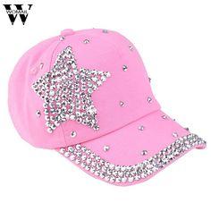 Amazing 5 Colors Fashion Children Kids Baseball Cap Rhinestone Star Shaped Boy  Girls Snapback Hat Summer c5946ef7b455