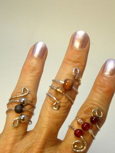 Ring - Metal Spiral Wrapped Ring Made from Bracelet with Wood and Glass Beads- Upcycled
