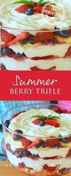 Best Summer Berry Trifle #triflerecipe #summerberry