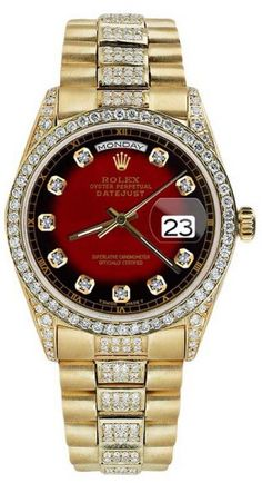 Rolex Presidential Day Date Red Vignette Dial Diamond Watch Yellow Gold Mens Watch Rolex Presidential, Rolex Watches For Men, Red Watches, Diamond Watches, Rolex Datejust, Vignettes, Burgundy, Jewelry Design, Accessories