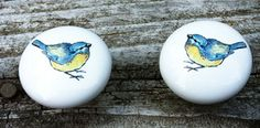 Set of 2  Bluebirds Ceramic Drawer Knobs Cabinet Knobs for