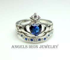 SALE Claddagh Ring Sterling Silver Women Enagement Irish Celtic Wedding Anniversary Promise Rings Set Blue Sapphire CZ Unique Jewelry Gift via ANGELS IRON. Click on the image to see more!