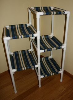 NEW COLORS The 5 Tier Cat Condo Choice of by Auntiemcreations, $180.00 you  could do this yourself with pvc pipe and crochet or some old pillow cases with pockets sewn on each side to accommodate the pc tubing.
