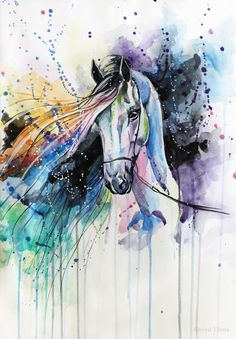 [Painting] Elena Shved: colorful horses - MONIQUE BELLEIL - - [Painting] Elena Shved : des chevaux hauts en couleur The horse that makes rainbow jokes of my dreams Watercolor Horse, Watercolor Animals, Watercolor Paintings, Watercolors, Horse Drawings, Animal Drawings, Art Drawings, Horse Head Drawing, Art And Illustration