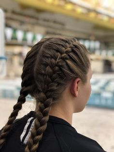 Side Bun with Double Loose Braid - 40 Two French Braid Hairstyles for Your Perfect Looks - The Trending Hairstyle Cute Braided Hairstyles, Braided Ponytail, Ponytail Hairstyles, Hairstyle Photos, Hairstyles Pictures, Updo Hairstyle, Cute Sporty Hairstyles, Wedding Hairstyles, Stylish Hairstyles
