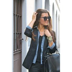 Love this all black + chambray look!!!!