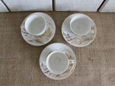 Vintage Set of Three Kutani Gold and Bright White, Hand Painted Demitasse Cups and Saucers, Kutani Demitasse Cup and Saucers, Vintage Kutani by OpenTwentyFourSeven on Etsy
