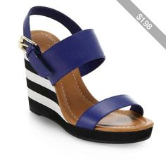 Kate Spade New York Bina Striped,Wedge Leather Sandals