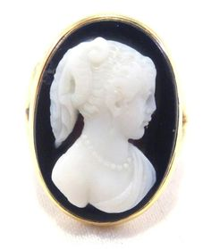 14kt Solid Gold Onyx Carved Cameo Ring Antique Can Be Sized Free Shipping
