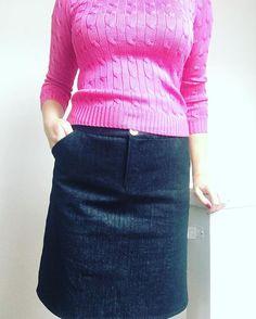 Denim #mossskirt = wardrobe staple #stitcheveryday #homemadewardrobe @grainlinestudiostitcheveryday,mossskirt,homemadewardrobestitchsewshop