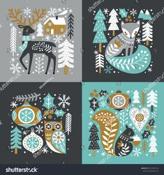Scandinavian Christmas illustration with cute woodland animals, woods and snowflakes on dark grey background. You can find the matching seamless pattern in my Christmas set. Christmas Doodles, Christmas Mood, Christmas Design, Illustration Noel, Christmas Illustration, Scandinavian Folk Art, Scandinavian Christmas, Scandinavian Pattern, Motif Mandala Crochet