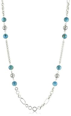 """LOIS HILL """"Turquoise"""" Long Chain Mixed Turquoise Bead Necklace $358"""
