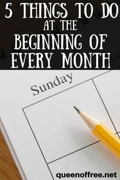 I can do all of these in a hour or two. Five simple tasks you do every month to stretch your time and money in a new month! debt free debt freedom #debt #debtfree #savemoney