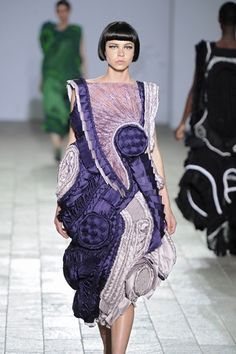 Wearable Art - purple dress with 3D shapes & texture through pleating, gathering, weaving & braiding - creative fabric manipulation for fashion design // Teruhiro Hasegawa