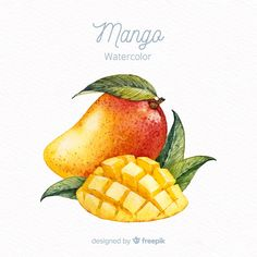 Fruits Drawing, Food Drawing, Watercolor Fruit, Watercolor Design, Fruit Illustration, Food Illustrations, Mango, Fruit Icons, Food Sketch