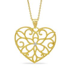 Diamond Accent Scrolled Heart Pendant in 14K Gold $266