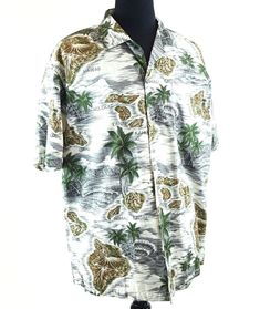b79cc410 Hawaiian Palmwave Island Palm Trees Shirt Men's Cotton Blue Short Sleeve  Size L
