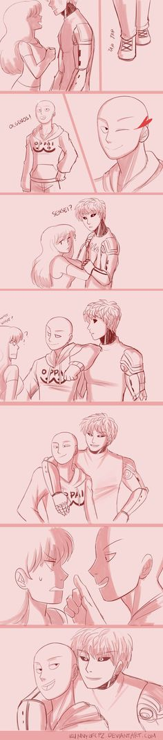My boyfriend~(GenosxSaitama) by AllforCartoons on DeviantArt One Punch Man Funny, One Punch Man Anime, Anime One, Anime Manga, Genos X Saitama, Shoujo Ai, Saitama One Punch Man, Anime Was A Mistake, Bald Man
