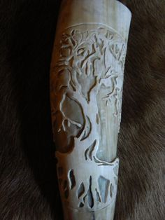 Hand Carved Yggdrasil Drinking Horn by WhereTheGodsLive on Etsy.