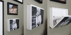 Always looking to upcycle her old things, entrepreneur Heidi Lehto came up with the idea of turning VHS cassette cases into 3D picture frames that have a secret storage compartment. She drilled the case into the wall using a couple of screws, and uses it as an easy-to-access business card holder.