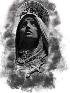 Tattoo design by Sergio londono #religioustattoo #virgin #Clouds
