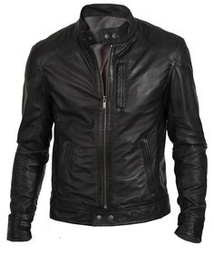 Customized Men's Handmade Black Biker New Fashion Genuine Leather Jacket