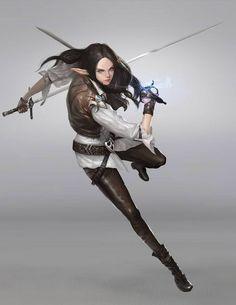 f High Elf Rogue Thief Leather Armor Dual Rapiers urban City undercity underdark Sword Fantasy, Fantasy Warrior, Fantasy Rpg, Fantasy Artwork, Warrior Girl, Female Character Design, Character Design Inspiration, Character Concept, Character Art