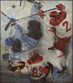 """""""Про хоккей"""" (150/130, х/м) автор V. Zbicki """"Как будто мертвый, Лежит партнер твой,- И ладно, черт с ним - пускай лежит."""" В. Высоцкий"""