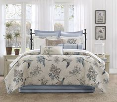 Harbor House Pyrenees Comforter Set, Queen by Harbor House. $199.99. 100-Percent cotton print faux linen reverse to 180TC cotton. 100% Cotton Faux Linen. Quilted for comforter and sham, closure with tie for sham. 180-Thread-count comforter set for queen bed. Made from 100-percent cotton; Machine washable. Comforter Measures 92 by 96-inch; sham measures 26 by 20-inch; bedskirt measures 60 by 80-inch, 15-inch drop and 4-inch overlap; Machine washable. Puzzle pattern embroidery cov...