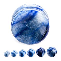 Pair of Synthetic Blue Imperial Jasper Stone Ear Plugs **Choose Size**