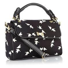 Black bird printed grab bag