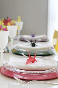Mesa de almoço - placement placecard tsuru ( Decoração: Eventando by NinaVilla )