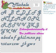 Alfabeto con Grisù schema punto croce