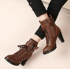 Brown Chunky Heel Buckled Ankle Boots with Lace up