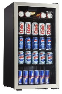 Danby DBC120BLS Beverage Center - Cools 120 beverage cans, features a light switch, tempered glass door with a security lock.