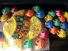 Fish Shaped Cake and Cupcakes