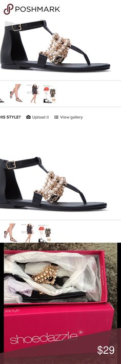 ✨ Brand New, Never worn Shoe Dazzle Pearl Sandals✨ Rosella is all about luxury. The chain and pearl embellishments really help you feel fancy, even though you're wearing sandals! These are brand new! In box!! 😁😁😁 Shoe Dazzle Shoes Sandals