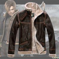 Gobernante Resident Evil 4 Leon de Scott Kennedy Cosplay Capa de la Chaqueta de Cuero Chaqueta de Cuero prendas de Vestir Exteriores