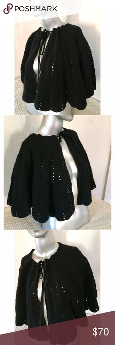"K Millen 100% Wool crochet tied Cape ""Capelet NWOT Karen Millen has a huge loyal following, esp for dresses and accessories. But don't call thus a scarf. She calls it a limited edition black Capelet.  Crocheting gently scalloped; the neckline laced with velvet ribbon. You can push Capelet to shoulder or cover up dramatically. My dress form has no shoulders so it doesn't come as long on the body- it's just 14"" long.  I cut out itchy tag but never got to wear this pricey piece. It's KM! A cape…"