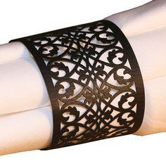 50 BLACK FILIGREE Laser Lace Paper Napkin Rings Holders by lisasu, $24.00