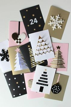 carte de vœux Noël - papier-noir-blanc-sapins-3d