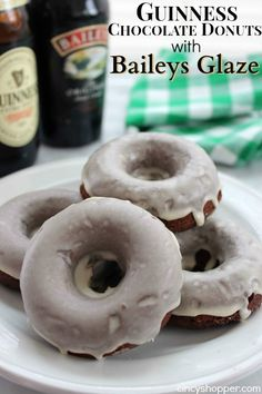 I promised to share this delish Guinness Chocolate Donuts with Baileys Glaze with all of you. Perfect donut to start your St. Patrick's Day celebrations! Th