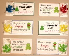 "These toadally cool frog valentines are a great alternative to candy.  Use the printable to make someone ""hoppy"" this February!"