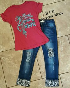 Hippies and The Cowboys Tee  Leopard Print Boyfriend Jeans  Order At www.danddwesternwear.com