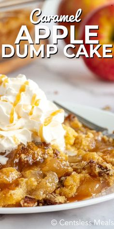 This easy caramel apple dump cake recipe is made with 4 simple ingredients. Apple pie filling is mixed with cinnamon and caramel sauce, then topped with dry cake mix, melted butter and chopped pecans. Baked till golden and served warm with a dollop of ice cream or whipped cream, this is definitely a decadent dessert you will love! #centslessmeals #caramelappledumpcake #dumpcake #dessert #cakerecipe