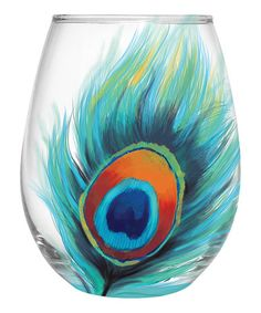Love this Peacock Feather Stemless Wineglass on #zulily! #zulilyfinds