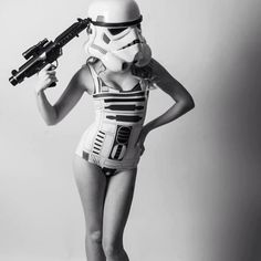 AlyBongo modeling one of Black Milk Clothing's Star Wars collections swimsuits