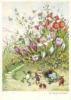 Künstlerkarte Fritz Baumgarten / Ein Tänzchen im Frühling Art And Illustration, Frosch Illustration, Book Illustrations, Baumgarten, Cute Paintings, Postcard Art, Fairy Art, Whimsical Art, Flower Art