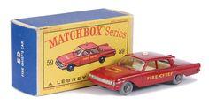 "Matchbox Regular Wheels No.59b Ford Fairlane ""Fire Chief"" Car"