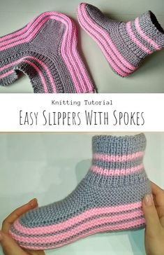 Knit Spoke Slippers - Craft With Yarn Knitting Stiches, Crochet Stitches Patterns, Easy Knitting, Baby Knitting Patterns, Knitting Socks, Knit Slippers Free Pattern, Knitted Slippers, Knitted Hats, Crochet Shoes